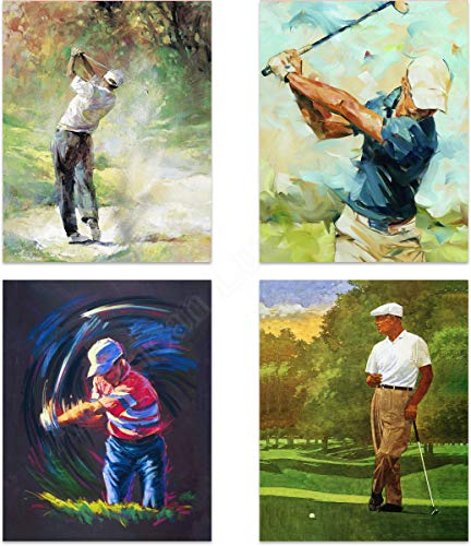Golf Art- Abstract Watercolor Prints- 4 Print Set- 8 x10's Wall Art Decor-'Fairway, Trap & Green'- Ready To Frame. Golf Gifts. Home-Golf-Office...