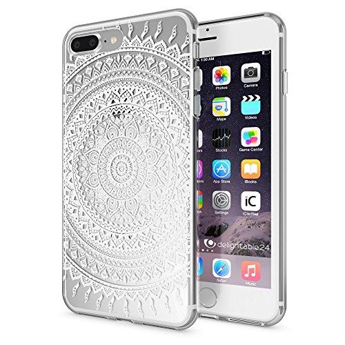 NALIA Custodia compatibile con iPhone 8 Plus / 7 Plus, Cover Protezione Silicone Trasparente Sottile Case, Gomma Morbido Cellulare Slim Protettiva Bumper, Motiv:Mandala Bianco