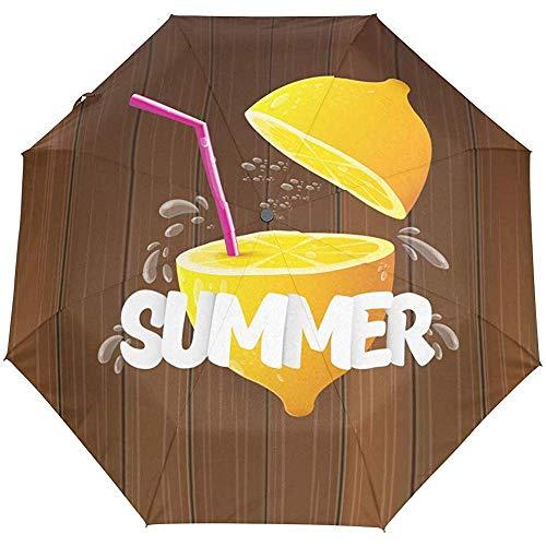 Sommer-Zitrone-Selbstoffener Regenschirm-Sonnenregen-Regenschirm Anti-UV, der kompakten automatischen Regenschirm faltet