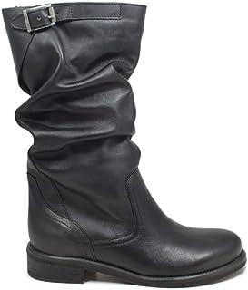 55b1764d160de3 In Time Stivali Biker Boots Estivi Arricciati Donna 0471 Nero in Vera Pelle  Made in Italy