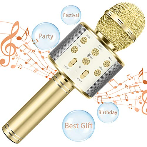 Bluetooth Microphone for Kids Birthday Gifts Girls Toy for Age 4 5 6 7 8 9 10 Year Old Portable Wireless Karaoke Microphone Fun Toys for Teen Girls Boys Christmas Best Gifts Home Party Favor Singing