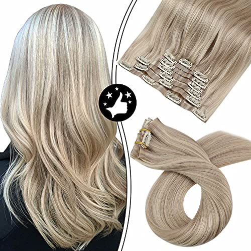 Seamless Hair Extensions Clip in Human Hair Moresoo Thick Clip in Hair Extensions Remy Human Hair 18 Inch #18/613 Ash Blonde Highlighted Blonde Hair Extensions Silky Invisible Weft 7pcs 100g