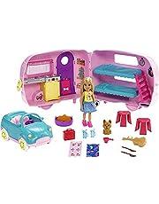 Barbie – Chelsea docka och husvagn, med hund och tillbehör (Mattel FXG90)