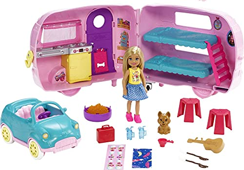 ?Barbie Club Chelsea Camper Playset with Chelsea Doll, Puppy, Car, Camper, Firepit, Guitar and 10 Accessories, Gift for 3 to 7 Year Olds