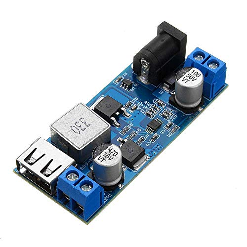 XUSHEN-HU DC-DC 24V/12V a 5V 5A LM2596S paso abajo fuente de alimentación convertidor Buck ajustable USB Step-down carga módulo de módulo de alta eficiencia