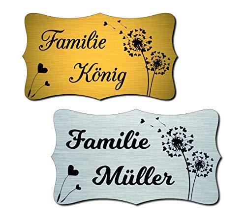 Klingelschild Türschild Briefkastenschild mit Blumen inkl. Gravur