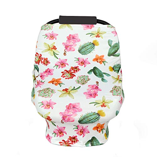 Anbaby Elastic Baby Shipping Cart Cover Flower Print High Chair Cover Stretchy Nursing Cover (Cactus Flower)