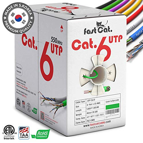 fast Cat. Cat6 Ethernet Cable 1000ft - Insulated Bare Copper Wire Internet Cable with Noise Reducing Cross Separator - 550MHZ / 10 Gigabit Speed UTP LAN Cable 1000 ft - CMR (Green)