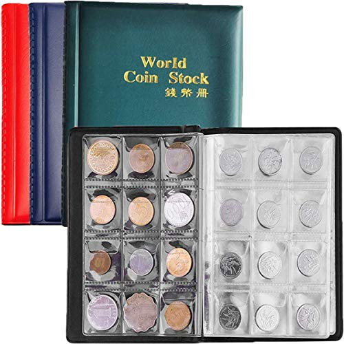 Biluer 4PCS Custodia per Album di Monete, Moneta Banconote Collezione Raccoglitore per Collezione di Monete con 10 Buste per 120 Monete Diverse per Raccogliere Monete
