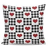 Fundas de almohada decorativas, para el día de San Valentín, diseño de corazón rojo y blanco, a cuadros, ultra suave, funda de cojín cuadrada cómoda para sofá dormitorio, 50,8 x 50,8 cm