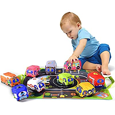 Soft Car Toy Set with Play Mat for 1 Year Old Baby,Toddlers,Boys and Girls ( 9 Vehicle and a Play mat/Storage Bag) | Baby Toys 12-18 Months| Toys for 1 Year Old boy from Titain Creations