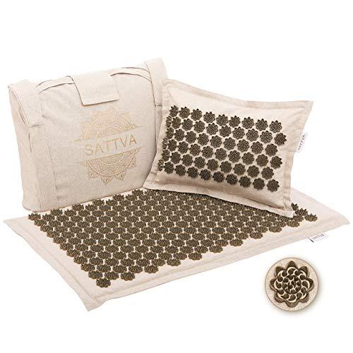 Sattva Eco Tapis d'acupression – Coussin, tapis, sac – 100% naturel, coton, fibre de coco, fleurs de lotus HIPS – Stress, soulagement de la douleur et détente musculaire