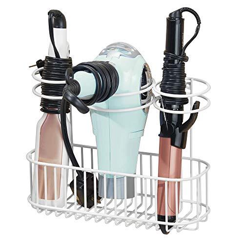 mDesign Soporte de pared para secador de pelo – Práctico estante de baño con 3 divisiones para utensilios de peluquería – Organizador de baño para secador, plancha o rizador – blanco
