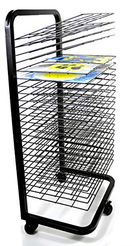 Joymaney Art Drying Rack - 25 Flexible Shelves, Mobile, Solid Metal, Power Coated Design, Ideal for Schools and Art Clubs. Total Height 39 inches, Shelves 12 by 17 inches