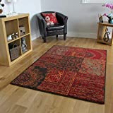 The Rug House Tapis Traditionnel Rouge, Marron & Gris - 8 Tailles Disponibles