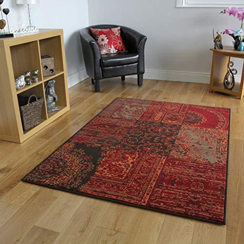 The Rug House Tappeto Classico, Colori: Rosso, Marrone, Arancione e Grigio - 8 Formati