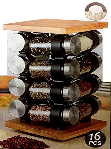 botes de Cristal Giratorio Incluye 16 tarros Vasos aptos para lavavajillas Organizador de especias de pie Estanter/ía para Especias bamb/ú