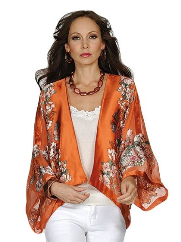 Aris A Beaded Floral 100% Silk Jacket in Persimmon