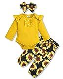 SOLOYEE Ropa para bebés (0-18M) Trajes para recién nacidos Mamelucos de manga larga con volantes Tops + Pantalones de flores + Conjunto de diadema con lazo para otoño e invierno, Amarillo, 18 Meses