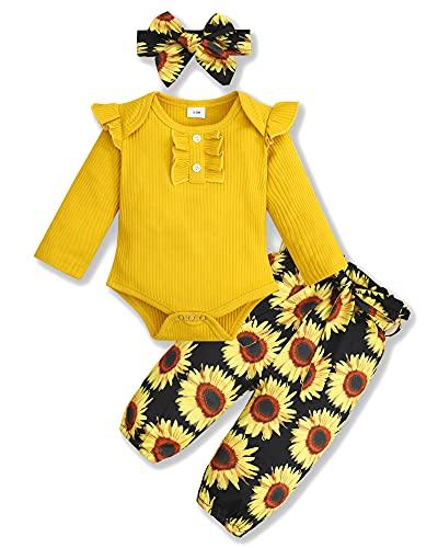 SOLOYEE Ropa para bebé niña (0 – 18 m), ropa de recién nacido, body de manga larga con volantes, parte superior + pantalones de flores + cinta para la frente para otoño e invierno, amarillo, 0-3 Meses