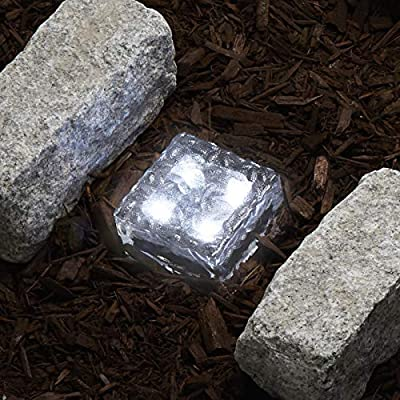 "Solar 4 LED Clear Glass Brick Light - In 3 great colors - 4"" x 4"""