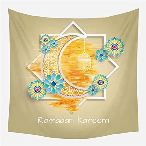 KHKJ Tapiz de Ramadán Manta con símbolo de Luna Toalla de Playa de Viaje Decoración étnica para el hogar Tapices de Ventana Colgante de Pared A13 200x150cm