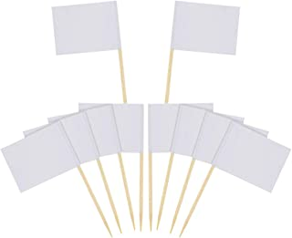 DLOnline 120 Pcs Mini Blank White Flag Toothpicks,DIY Food Picks Cupcake Decoration Fruit Cocktail Sticks Party Supplies, White Flags Labeling Marking for Party Cake