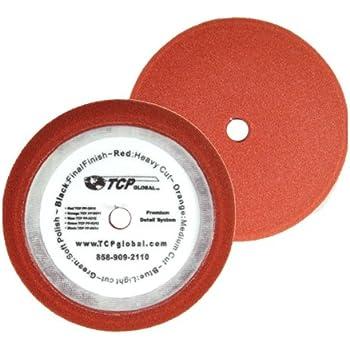 DA Hook /& Loop TCP Global 6.5 Red Flat Heavy Cut Grip Foam Polish Buff Pad