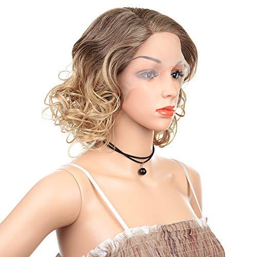 Perruques de cheveux courts bouclés, tendance, dentelle frontale en fibre chimique, pour le travail