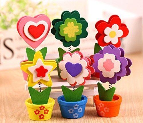 URGrace 10Pcs Bunte Sun Flower Hoelzern Kartenhalter Foto Clip Memo Stativzubehör Bürobedarf Hauptdekoration Schreibtisch Kleine Klemmen Bürobedarf