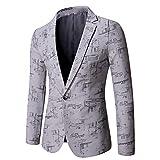 Hombres Casual Blazer Traje Chaquetas Slim Fit Floral Print Elegante Blazer Abrigos Chic Chaquetas Un solo Botonadura Boda Esmoquin Chic Abrigos Uso diario, gris, XL