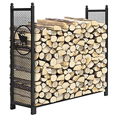 KINGSO 4ft Firewood Rack Outdoor Heavy Duty Mesh Log Rack Firewood Storage Rack Holder Steel Tubular Easy Assemble Fire Wood Rack for Patio Deck Log Storage Stand for Indoor Outdoor Fireplace Tool
