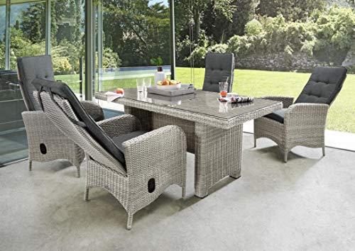 Destiny Palma Luna Sitzgruppe Vintage Weiß Tisch 165x90 Loungegruppe Hochlehner