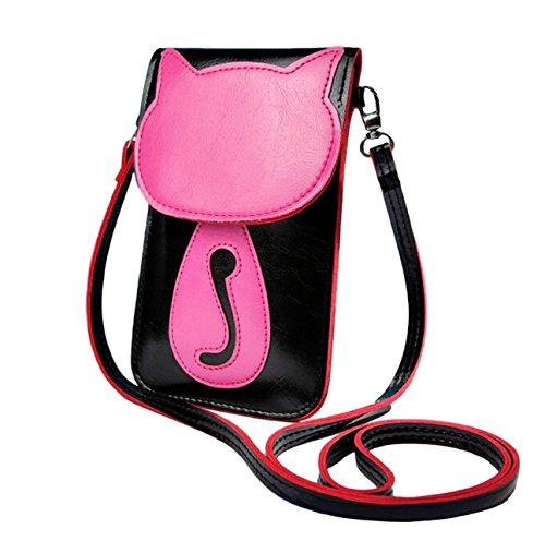 Süße bonbonfarbene Kunstleder Umhängetasche Schultertasche Kosmetiktasche Handytasche für Mädchen u. junge Frauen Originelles Katzen-Design (Pink Klein)