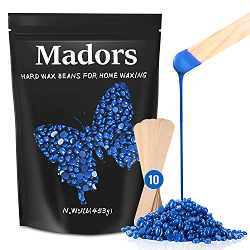 Madors Hard Wax Beads for Hair Removal, 1lB Wax Beans Kit for Brazilian, Underarms, Body and Chest Large Refill Pearl Beads for Wax Warmer