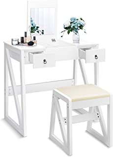 Giantex Vanity Set with Flip Top Mirror and 2 Drawers 9 Organizers, Dual Modern Makeup Dressing Table Writing Desk with Cushioned Stool, Easy Assembly, White
