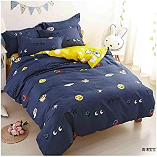 KFZ Bed Set Duvet Cover Queen Size, 3 Piece Bedding with 1 Comforter Case (Without The Insert) and 2 Pillow Cases, Big Eyes and Baseball Print Soft Bedding
