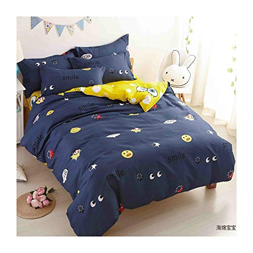 KFZ Navy Blue Ocean Sea Duvet Cover Set Queen, Cartoon Big Eyes Print Sheets Set with 1 Comforter Case( No Comforter Insert) 2 Pillowcases, Super Soft Bed Sets for Boys Girls