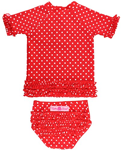 RuffleButts Baby/Toddler Girls Rash Guard 2-Piece Swimsuit Set - Red Polka Dot Swimsuit with UPF 50+ Sun Protection - 3-6m