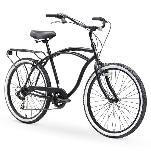 "sixthreezero Around The Block Men's 7-Speed Beach Cruiser Bicycle, 26"" Wheels, Matte Black with Black Seat and Grips"