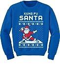 Tstars Kung Fu Santa Ugly Christmas Sweater Funny Youth Kids Sweatshirt Small Blue