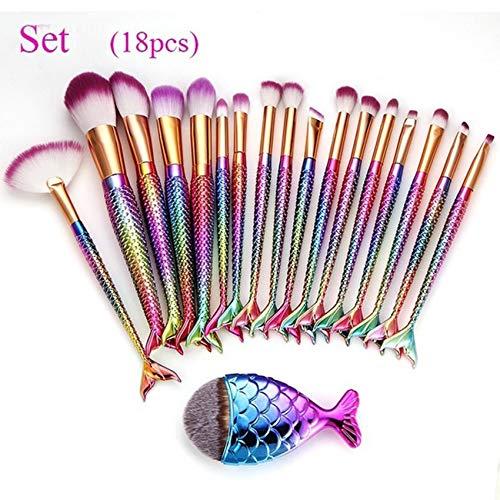 Weant 18 Pièces Kit de Pinceaux Maquillage, Maquillage de Sirène Brosses Pour Les Yeux Cosmétiques Eyeliner Ombre à Paupières Blending Brush