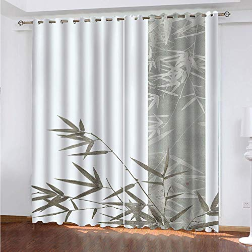 WLHRJ blackout curtains for bedroom living rooms kids kitchen window 3D Digital printing curtains eyelet - 104x83 inch - Green plant bamboo leaves