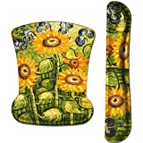 iLeadon Keyboard Wrist Rest Pad and Mouse Wrist Rest Support Mouse Pad Set, Non Slip Rubber Base Wrist Support with Ergonomic Raised Memory Foam for Easy Typing & Pain Relief, Sunflowers