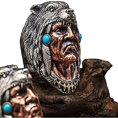 LPOK Anillo Cacique, Anillo de Cabeza de Lobo Jefe,Wolf Ring For Men, Tribal Chief Skull Ring, Wolf Head Totem Ring Tribal Retro Style 13 1pcs