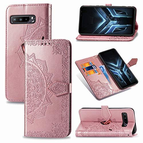 LMFULM® Hülle für Asus ROG Phone 3 ZS661KS (6,59 Zoll) PU Leder Magnet Brieftasche Lederhülle Mandala Prägung Design Stent-Funktion Ledertasche Flip Cover Rosegold