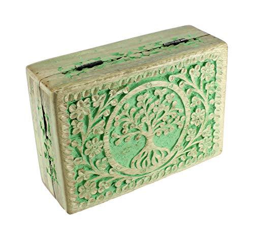 budawi-Deko & Schönes Holztruhe Holzkiste Schatulle Motiv Lebensbaum Holzbox Box Schmuckkästchen aus Mangoholz
