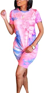 desolateness Women 2 Piece Outfits Short Sleeve Tie Dye T-Shirt Top and Short Pants Set Bodycon Clubwear Tracksuit
