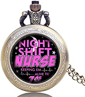 New Steampunk Night Shift Nurse Pocket Watch Adult Games Pendant Quartz Watches with Necklace s for The New Year 2016