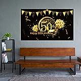 50. Geburtstag Party Dekoration, Extra Große Stoff Schild Poster zum 50. Jahrestag Foto Stand Hintergrund Banner, 50. Geburtstag Party Lieferunge (Schwarz Gold) - 5